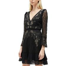 French Connection Womens Black Lace Embelllished Cocktail Dress 4 BHFO 0897