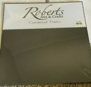 "Roberts Arts & Crafts Cardstock Pack Black 12"" x 12"" 25pk New"