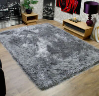 Very Thick 9cm Soft Touch Shaggy Rug in Grey Brown Red Caramel Cream Shag Pile