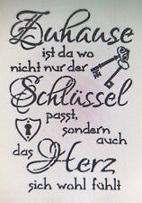 Shabby Schablone Möbel Wand Stoff Farbe Schild Spruch Zuhause Schlüssel Stempel