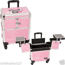 Professional Trolley Portable Cosmetic Makeup Artist Pink Croc Organizer Case