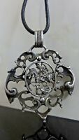 VICTORIAN Sterling Silver SCROLL RELIEF Pendant Figural St George Slaying Dragon