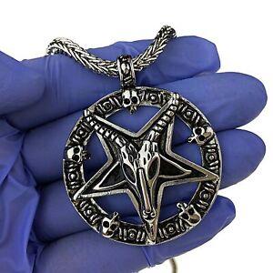 "Baphomet Necklace Devil Sabbatic Goat Silver Black Hematite Franco Chain 30""-36"""
