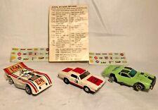 LOT of 3 Vintage Slot Cars Aurora c.1969 1970 T Jet COUGAR, Green JAVELIN, LOLA