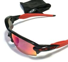 OAKLEY FLAK JACKET 2.0 SUNGLASSES Black Red Icons Positive Red Polarized Lenses