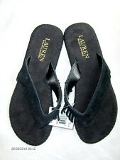 aff71d522 Lauren Ralph Lauren Women s Size 8 Suede Fringe Flip Flop Black Sandals