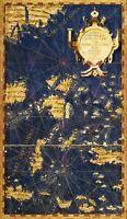Map Antique Danti Gold Atlas Philippines Old Large Replica Canvas Art Print
