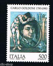 ITALIA 1 FRANCOBOLLO CARLO GOLDINI COMMEDIOGRAFO 500 LIRE 1993 nuovo**