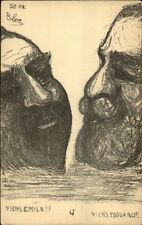 France England Political Comic Giant Heads of King Edward & Emile Loubet PC