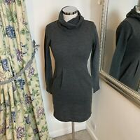 Joe Browns UK 8 grey cowl neck jumper knit dress cosy short winter fitted GC