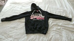 Womens superdry hoodie small- Black With Vintage Pink Writing Small.