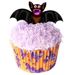 Pack of 12 Edible Wafer Decorations - Halloween Bats