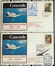 BA CONCORDE FIRST DAY COVERS,GRAZ-LINZ,LINZ-LONDON,29.3.1981