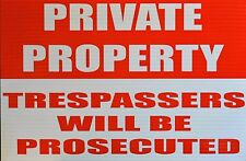 PRIVATE PROPERTY TRESPASSERS WILL BE PROSECUTED - A206