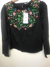 Zara Blouse With Floral Embroidery.black.XS.new With Tags