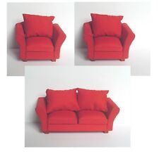 Dolls House Furniture Set:  Red Sofa & Two Armchairs : 12th scale chairs & Sofa
