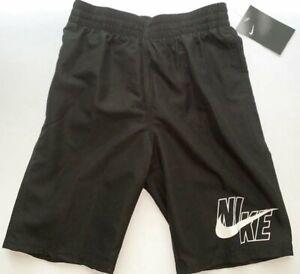 NWT Nike Logo Solid Volley Boy's Large Black Swim Trunks Shorts NESSA770