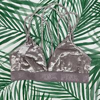 Victoria's Secret PINK Unlined Velvet Cross Strap Bralette Women's Size Medium