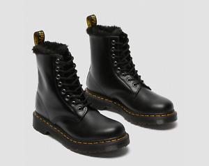Dr. Martens 1460 SERENA Faux Fur Leather Boots Dark Grey Women's Shoes
