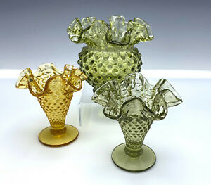 3 Fenton Ball Vase & Small Flared Vases Hobnail Scalloped Ruffled Green Gold