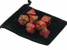 New Chessex Polyhedral Dice with Bag Strawberry Speckled 7 Piece Set DnD RPG