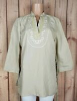 FIRST ISSUE Womens Size Medium 3/4 Sleeve Shirt Vneck Stitched Deco Beige Top