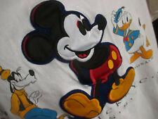 LARGE Vtg Mickey INC Walt 100% COTTON APPLIQUE PATCH T-Shirt