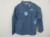 Men's Columbia Cascades Explorer Button Up Collar outdoor shirt Blue Large NEW