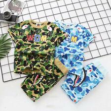 New 1 Set Kids Boy Girl Bape Blue Camo Shark WGM Summer Shirt Top Tee + Pants