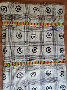 Vintage African Cloth Hand stamped  Adrinka symbols kente cloth bands  Ghana