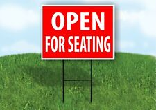 Open For Seating Red Plastic Yard Sign Road Sign with Stand