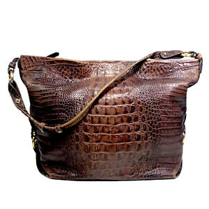 Brahmin Brown Pecan Melbourne Croc Embossed Large Leather Purse Shoulder Bag