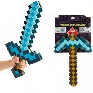 2 piece 1 order Games Transforming Diamond Sword And Pickaxe Hoe Toys Kids Gift
