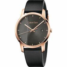 Calvin Klein K2G2G6C3 43mm Rose Gold Case Black Leather Strap