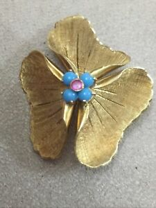 Rare Antique Unusual 18ct Gold Ladies Flower Brooch Set With Ruby & Turquoise