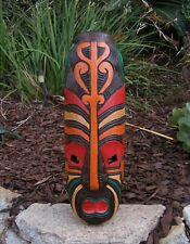 "Tribal Maori Tiki Wood Wall Mask Patio Tropical Bar Decor 20"""