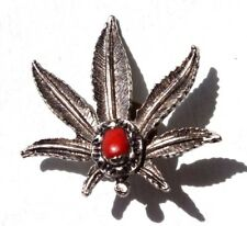 Vintage 1970's Red Turquoise Marijuana Leaf Pot Smoker Hat Pin Pinback Button