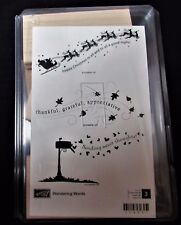 NEW NIB STAMPIN' UP WANDERING WORDS THREE UNMOUNTED STAMP BLOCK IN CASE RETIRED
