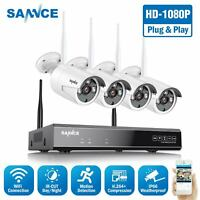 SANNCE Full 1080P Wireless Security System 8CH NVR Outdoor 2MP Video IP Camera