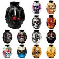 Women Mens Skull 3D Graphic Print Sweater Hoodie Casual Sweatshirt Pullover Top