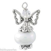 3 Anhänger Schutzengel Weiß Perlen Gastgeschenk Geburtstag Taufe #10