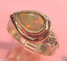 Old Stock Silver W/10k Solid Rose Gold Bezel Ethiopian Opal Ring skaisN15