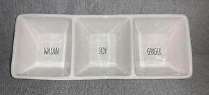 Rae Dunn wasabi soy and ginger Divided Serving tray 3 compartments ceramic NWT