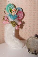 Dollhouse Victorian shabby chic Christmas stocking with ballerina OOAK 1/12 #2