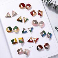 geometrische harz platz / runde ohr hengst leer aus acryl - textur ohrringe