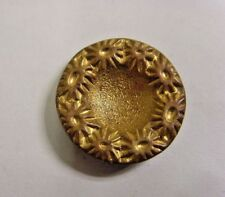 1800s antique collector museum gold tone metal octagn floral crater button 49200
