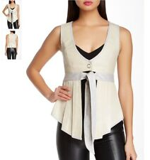 $348 NUVULA Couture Genuine Leather VEST Topper Waist Definer NWT Bone  M Sexy