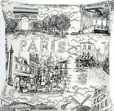 Black White Cushion Cover Paris Scene Printed Throw Pillow Case Cotton Fabric