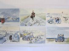 Carte bigoudene art breton 2cv 4l velo Lot Breizh 6x couleurs aquarelle Neuf
