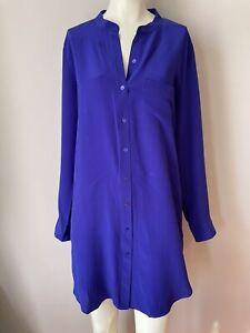 Eileen Fisher Silk Mandarin Collar Shirt Dress Admiral Blue